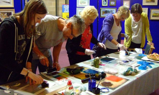 Combining collagraphs and mono-prints