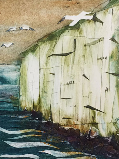 Cliffs, collagraph print