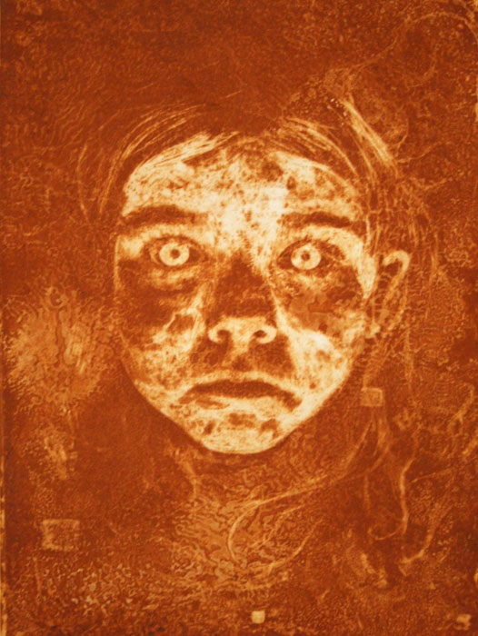 rust printed face