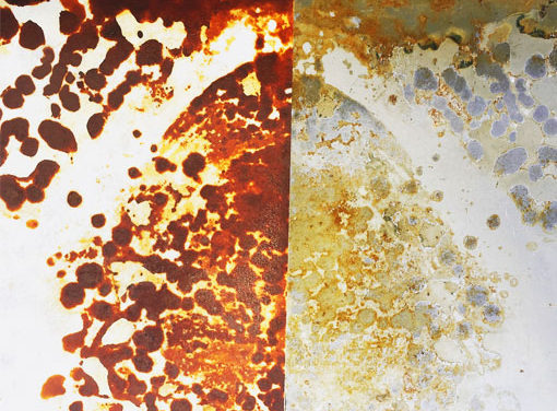 Rust printing on paper; first steps