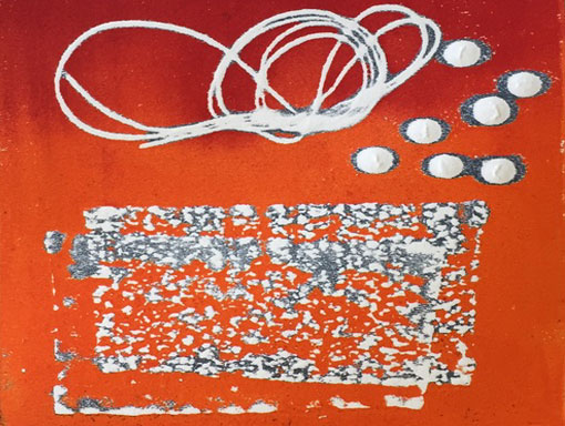 relief print from string, sandpaper and lentils