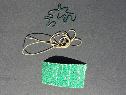 wire, string and sandpaper for embossing