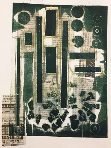 Collagraph print with chine collee newspaper