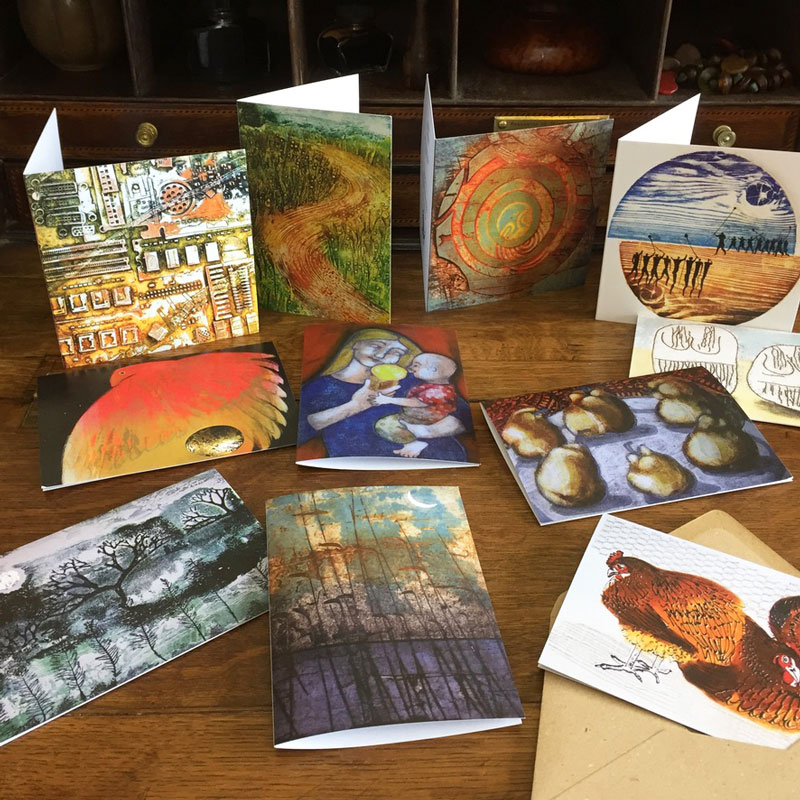 Display of greeting cards on writing desk
