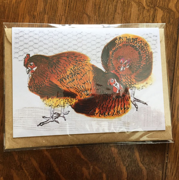 Wrapped 'chickens' greeting card and envelope