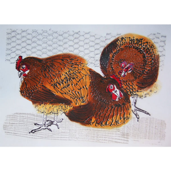 Original print; 'three chickens on a box'