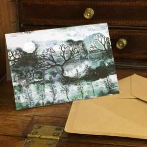 evening greeting card on desk