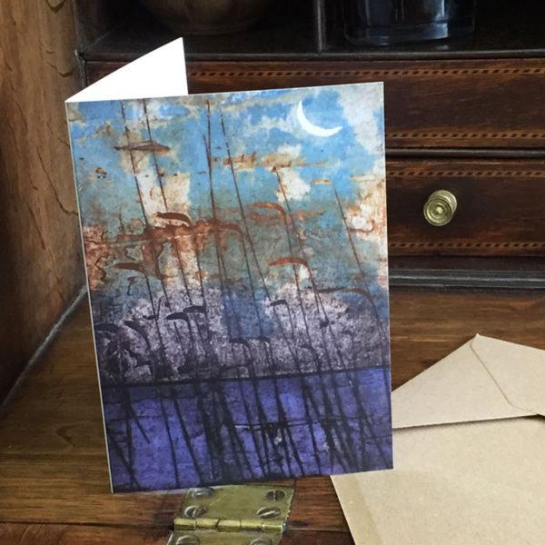 moon card on desk