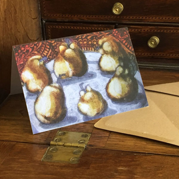 pears greeting card on desk