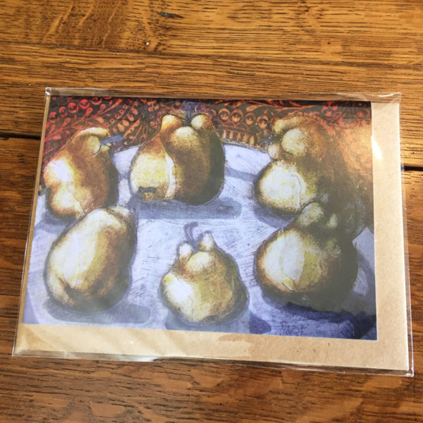 pears greeting card wrapped
