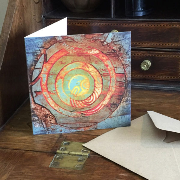 petroglyph greeting card on desk