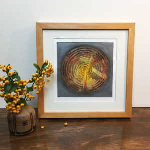 Achnabreck collagraph print framed