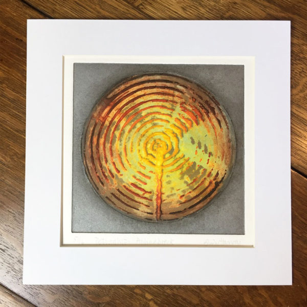 Achnabrek collagraph print mounted
