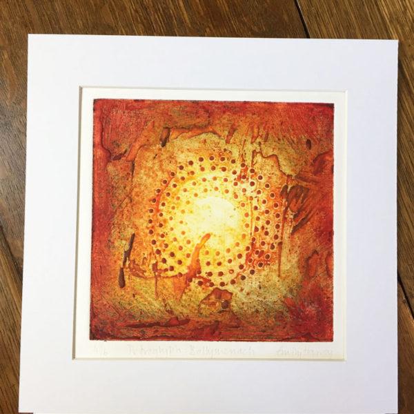 Ballymenach collagraph print mounted