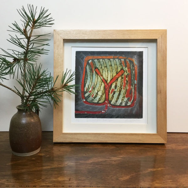 Dod Law collagraph print framed