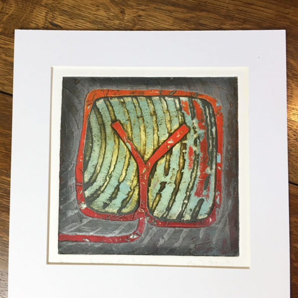 Dod Law collagraph print mounted