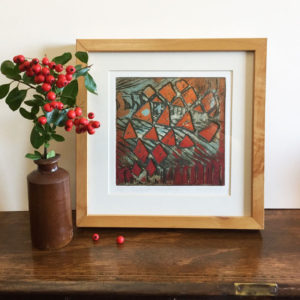 New Grange collagraph print framed