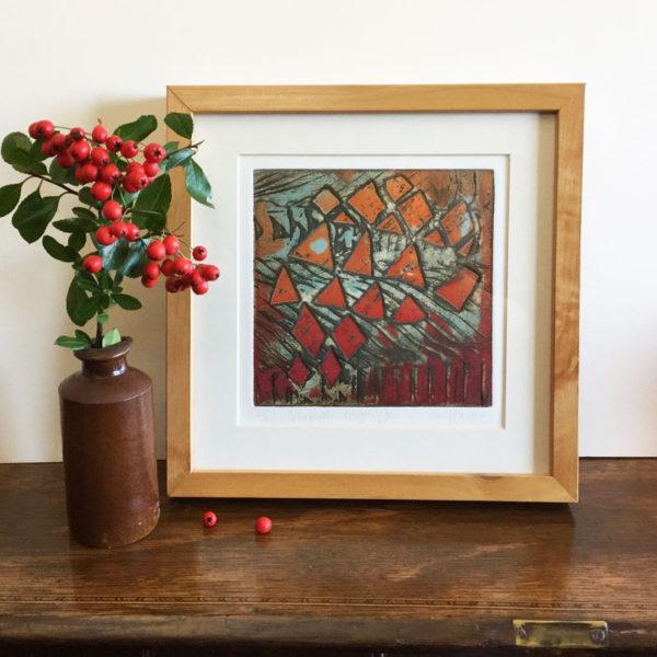 New Grange collagraph print framed