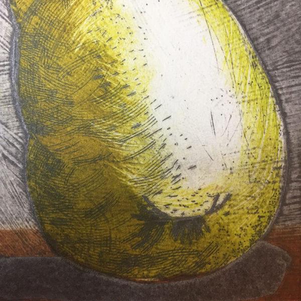 Pear 1 collagraph print detail