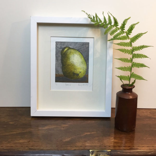 Pear 1 Collagraph print framed