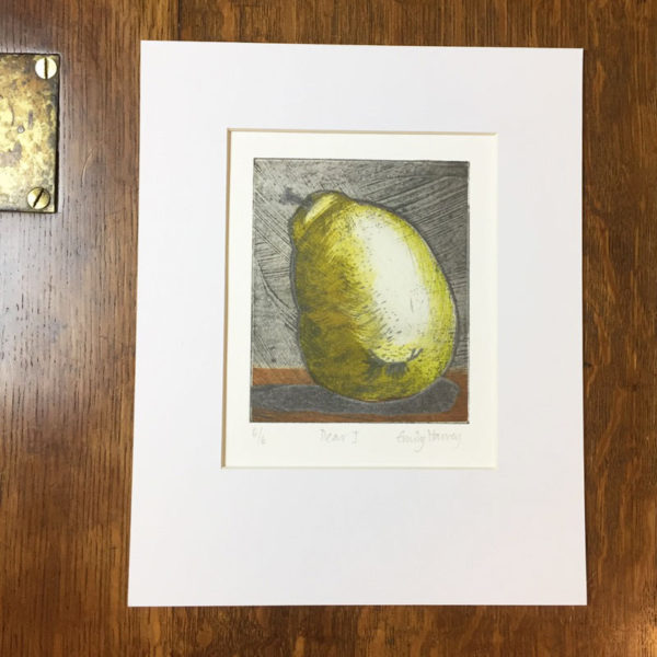 Pear 1 collagraph print mounted