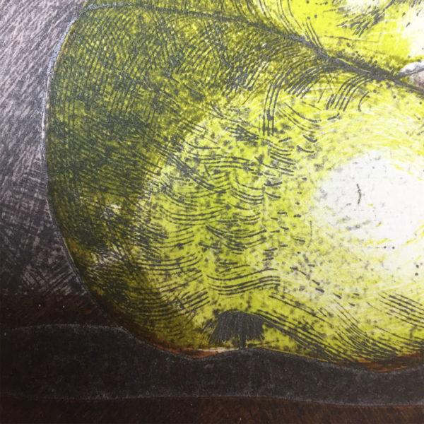 Pear 3 collagraph print detail