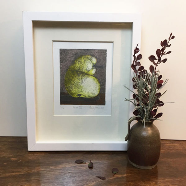 pear 3 collagraph print framed