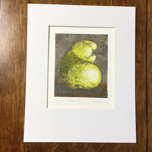 pear 3 collagraph print mounted
