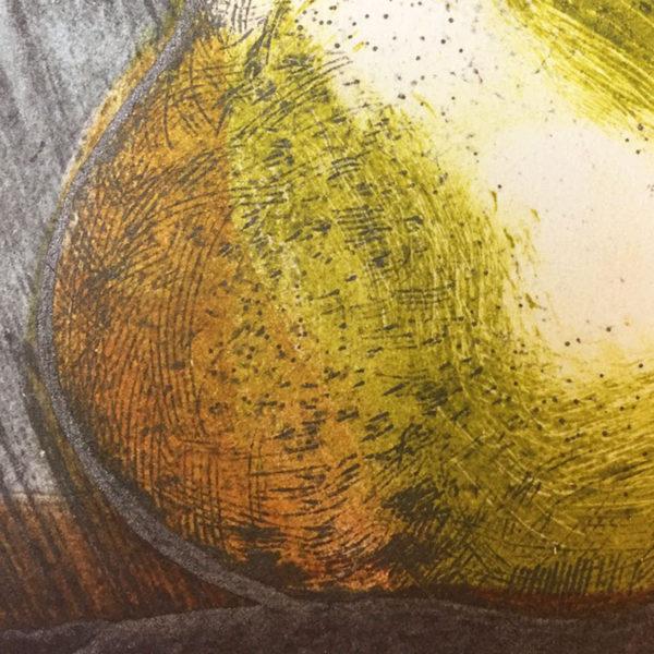 pear 4 collagraph print detail