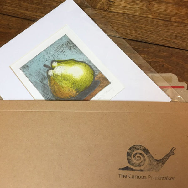 pear 4 collagraph print wrapped