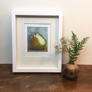Pear 4 collagraph print framed