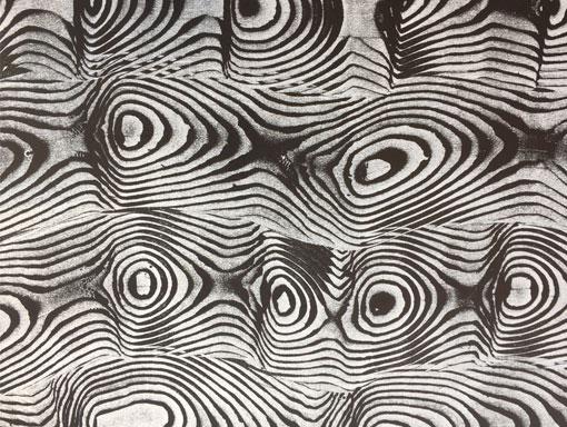 black and white moire mono-print