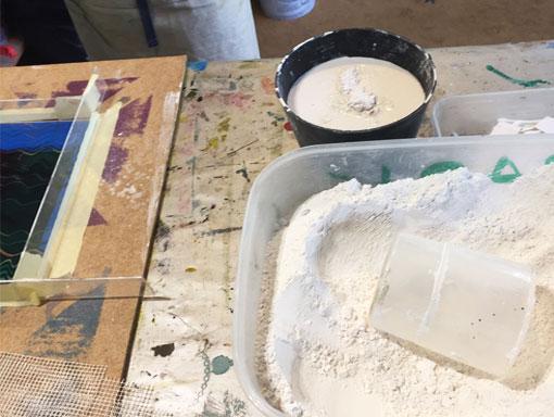 mixing plaster of Paris