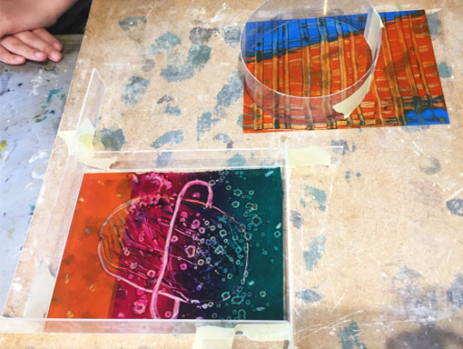 two mono prints with moulds ready for plaster