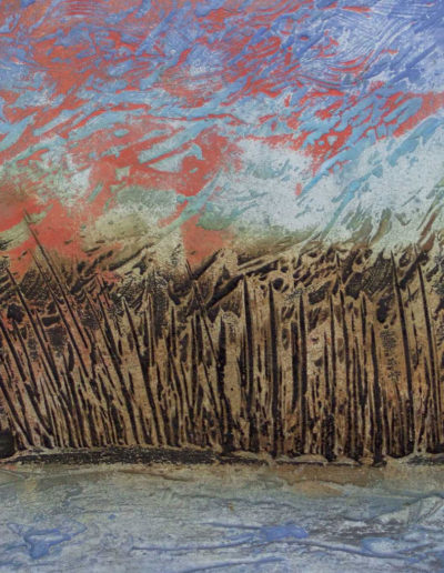 collagraph print of watery landscape
