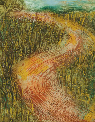 Collagraph print of path through buttercups
