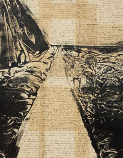 Collagraph print ontop of old letters