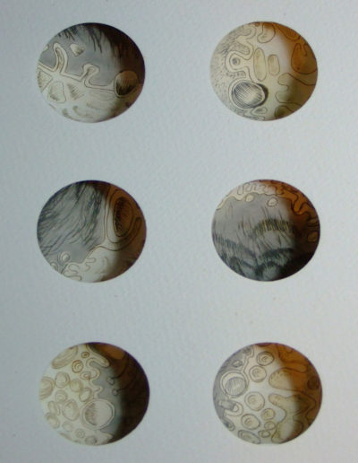 sculptural plaster print six views of the moon