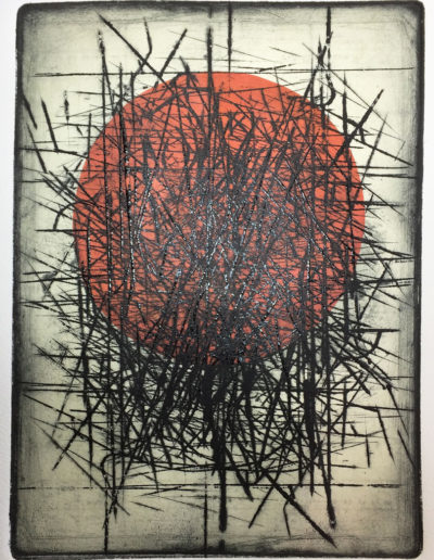 Collagraph print dark lines with round orange chine collee