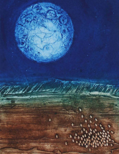 Collagraph print of moon