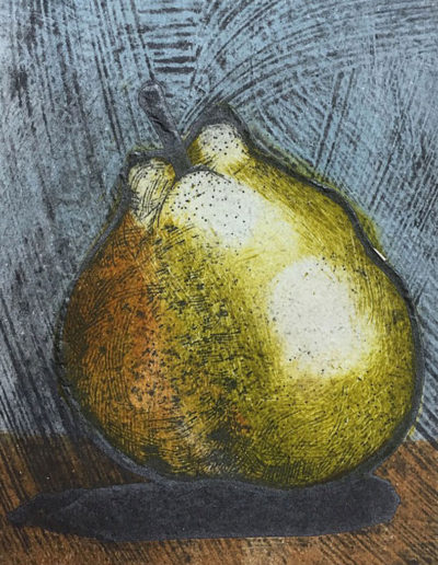 Collagraph print of a small pear