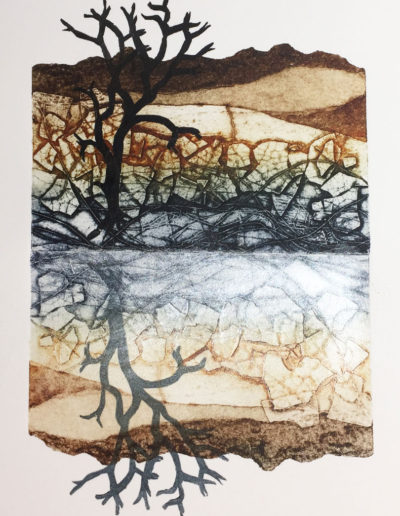 Collagraph print of tree reflected in water