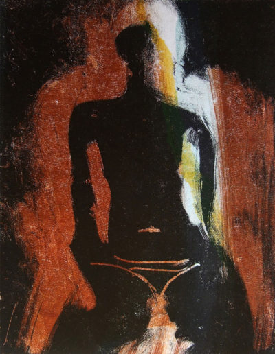 seated figure, mono print