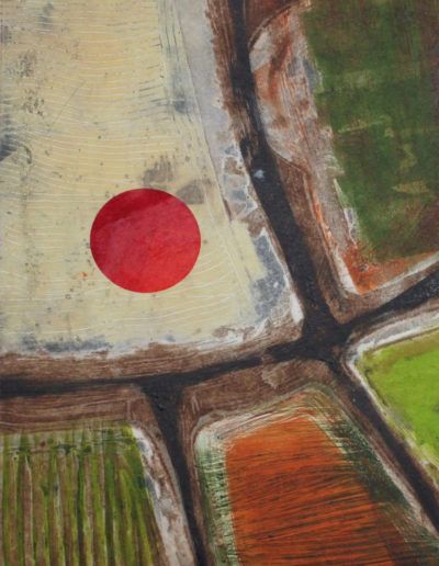 Collagraph and mono print; aerial view of hot air balloon