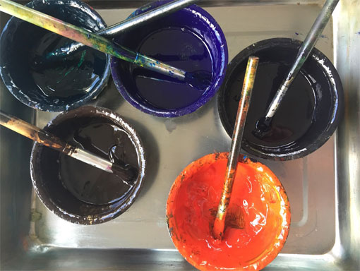 printing inks in a tray