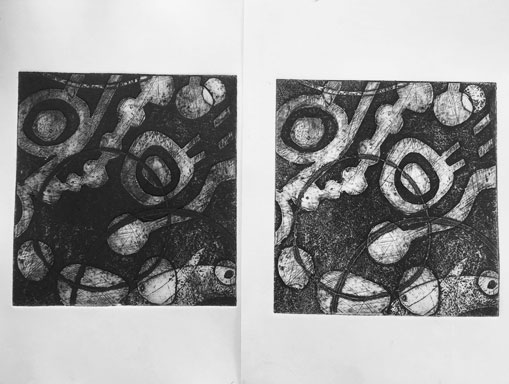 two collagraph prints one with white ink and one without