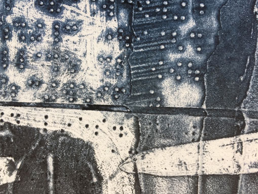collagraph detail with white ink