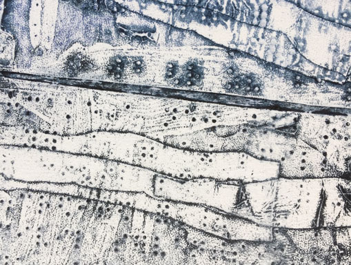 collagraph detail with white ink relief