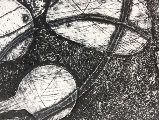 detail of intaglio print with white