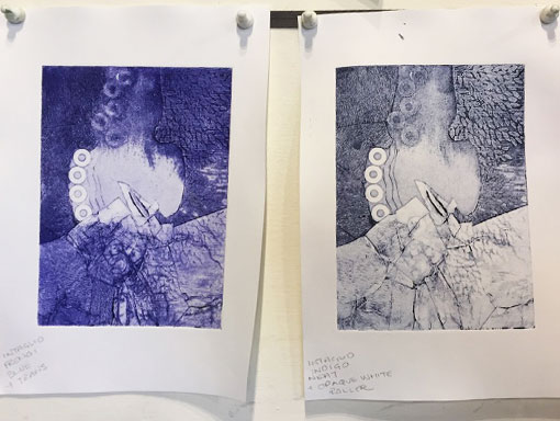 students work; collagraph print with and without white relief roll